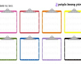 Clipboard Full Boxes // Planner Stickers!