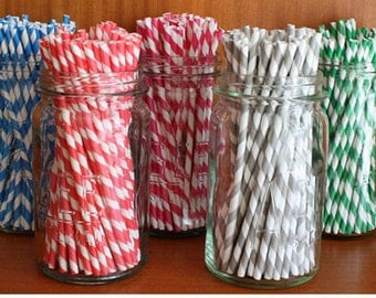 Set of 12 Striped Paper Straws