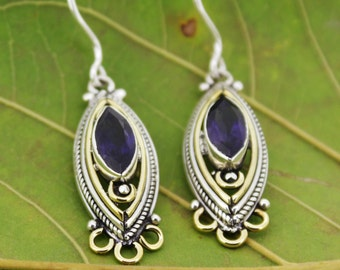 925 Sterling Silver & Brass  Earrings  with Marquise Shape 5 x10  mm Iolite  Gemstone