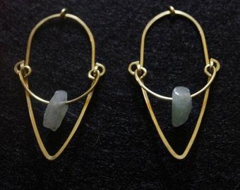 brass jade earrings