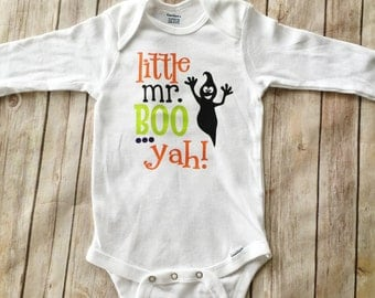 Baby Boy Halloween Outfit - Little Mr. Boo Yah Boy Bodysuit - Ghost Bodysuit - Happy Halloween