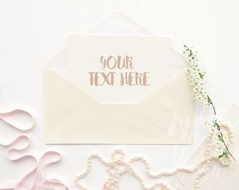 Envelope with Blooming Branch, String of Beads and a Pink Ribbon on a White Desktop #2 / Stock Photography / Product Mockup / High Res File