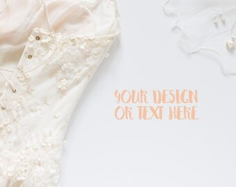 Wedding Dress with Jewelry on a White Background / Stock Photography / Product Mockup / High Res File