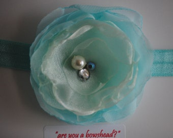 Organza flower - Beautiful single delicate flower with crystal details on headband/ clip
