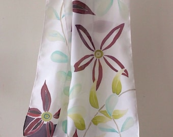 Silk Scarf - flowers and leaves hand painted on pure silk
