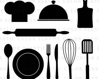 Kitchen svg - kitchen utensils clipart - restaurant clip art - chef hat, spoon , fork, rolling pin vector digital files svg, dxf, eps, png
