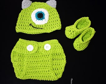 Monster inc. /Crochet Monster Outfit, Baby Monster Inc, Baby Mike Wazowski Outfit, Newborn Monster Inc.,