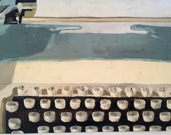 Typewriter, painterly oil painting on canvas, still life, small painting, thick paint, layers