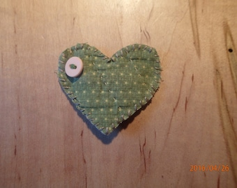 Heart Pin Vintage Quilt Shabby Chic. Green and Tan. Handmade from Primitive, Patchwork Quilt. One-of-a-Kind.