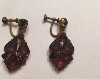 Purple Dangle Screw Back Earrings