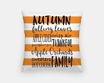 "Autumn Throw Pillow Cover 18"" - Pillow Cover + Pillow Insert, Fall Decor,Home Decor, Autumn Leaves, Fall, Autumn Throw Pillow, Plaid"