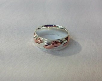 Copper/Sterling Silver Twist, Spin Ring