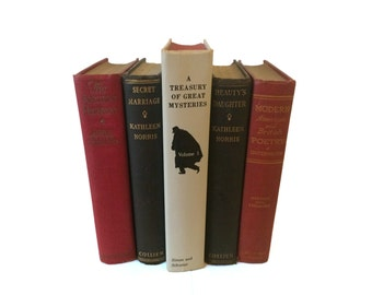 Black White and Red Decorative Books, Vintage Book Stack, Interior Decoration, Book Set Decor, Shabby Chic Decor, Rustic Decor