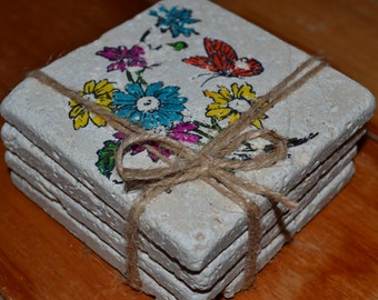 Colored Flowers Hand Made Coasters