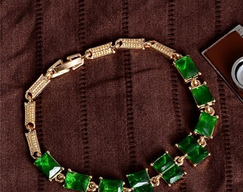 bracelet Green Glass Particles
