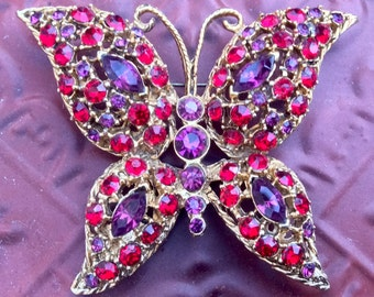 Stunning Red and Purple Butterfly Pin