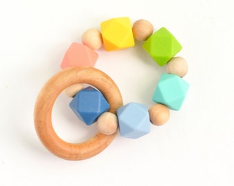 Wooden toy teething ring, Organic Wooden Teether, silicone chew bead teething, natural wooden baby gift teething toy, infant toy