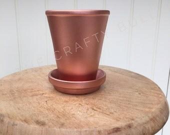 Copper planter & saucer: hand painted, plant pot, metallic terracotta, industrial, interior design, home decor, indoor garden, houseplant