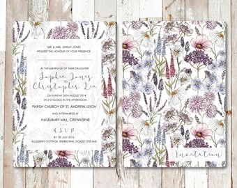 DIGITAL: Beautiful Handpainted Summer Brights Floral Wedding Invite/Save the Date - Boho, Wildflower - Customisable - Full Set Available