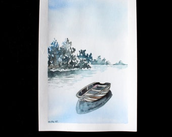 Original watercolor painting landscape water and a boat