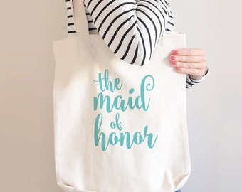 Maid Of Honor Tote Bag, Maid Of Honor Canvas Bag, Maid Of Honor Gift, Gift For Maid Of Honor, Maid Of Honor Gift Idea, Custom Tote Bags