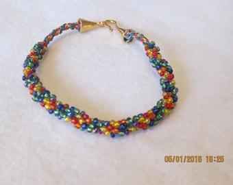 0105-Rainbow Seed Bead Bracelet