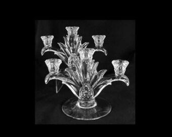 "Vintage Elegant Heisey ""PLANTATION"" 3 Lite Candlestick/ Candleholder- Pair"