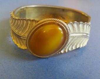 Vintage Natural Yellow Gemstone Cuff Bracelet