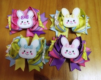"Handmade Boutique Layered Hair Bow 4.5"" Bunny Rabbit - Girls - On Lined Alligator Hair Clip"