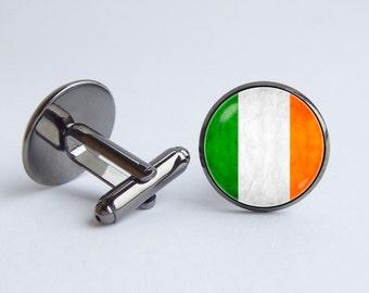 Flag of Ireland cufflinks Irish flag cuff links Flag cufflinks Travel gift Ireland Patriotic gift Irish cuff links Irish jewelry Country