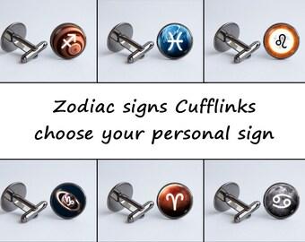 Custom Zodiac cufflinks Men accessories Personal cufflinks Zodiac gift Zodiac sign Constellation cuff links Zodiac jewelry Personal gift