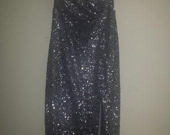 Silver sequence sweetheart neckline dress