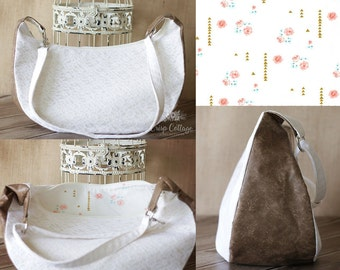 SALE-Hobo Lace and Muslin Swoon Sheena Hand bag with floral arrow lining