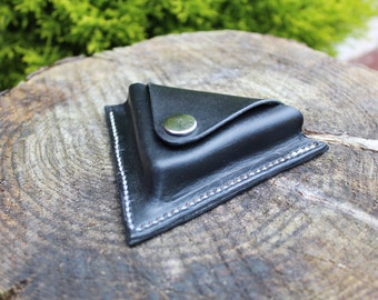 leather triangle coin pouch/purse