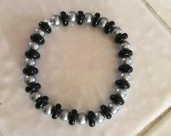 Black and Silver Elastic Bracelet