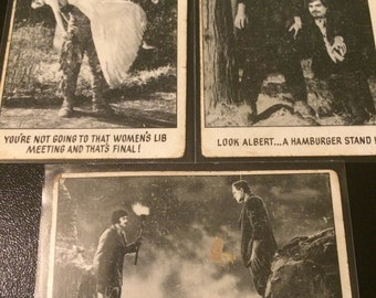 "Vintage 1973 Creature Feature ""You'll Die Laughing""  Set Of 3 Cards"