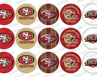 "San Francisco 49ers Bottlecap Images, 1"" 49ers Bottle Cap, 4x6 Collage Sheet, Football Images, Craft Graphics, Football, Craft Supplies"