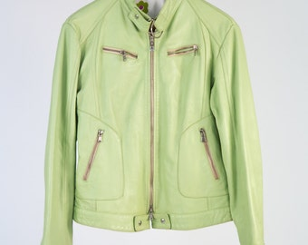 Leather Biker Jacket 80 ' Roy Rogers style, pistachio green-cod D46