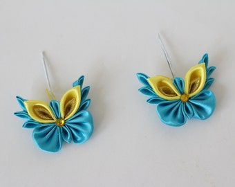 Kanzashi hair pins.Вlue and yellow, set of 2 hair pins.Kanzashi flower pins.Butterflies kanzashi.Kanzashi butterfly clip