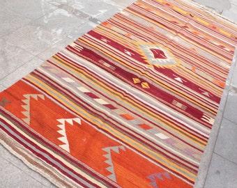 Bright orange handwoven vintage kilim rug - 10 x 5 ft