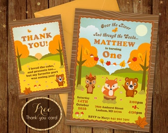 Woodland Birthday Invitation - Printable Woodland Invitation- Over the river and through the woods Invite - 5x7 or 4x6 - Free Thank you card