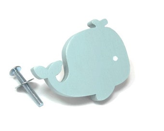 Whale, Dresser knob, furniture cabinet knob, blue painted wooden whale color