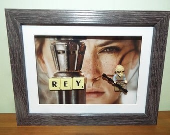 Star Wars Custom Lego Rey mini figure Frame with Scrabble tiles
