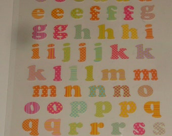 NEW ~ Scrapbook Stickers Alphabet Lower Case Letters Kids Party Favor Embellishments