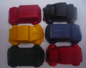 6 motor car    transport novelty wax crayons
