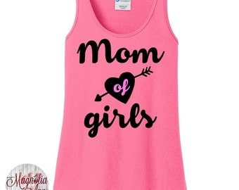 Mom of Girls, Mom Life, Women's Tank Top in 6 Colors, Sizes Small-4X, Plus Size