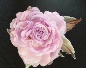 Unique Handmade Designer Fabric Flower Brooch ''Lilac Dream''