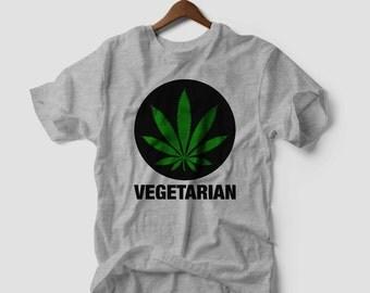 Vegetarian Marijuana Leaf T-SHIRT Weed Smoke Cannabis Dope 420 Kush Swag tShirt