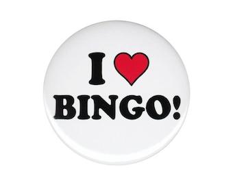 I Love Bingo Button Badge Pin I Heart Playing Bingo