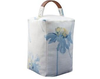 Doorstop ~ Laura Ashley Runswick seaspray fabric ~ Leather handle door stop - Country doorstopper